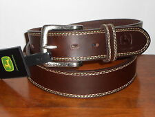"JOHN DEERE BROWN SOLID BUFFALO LEATHER ""NEW WITH TAGS"" 36-46"