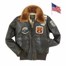 Blouson Aviatrice cuir Top Gun NAVY G-1 COCKPIT USA ex AVIREX Version Femme