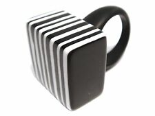 JACKIE BRAZIL Black & White Bar Code Cube Ring by Sobral - Fun & Funky!