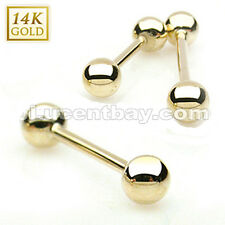14K Solid Yellow Gold Barbell