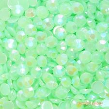 Green AB 2-7mm Jelly Acrylic Flatback Rhinestone Scrapbook Nail Art Craft