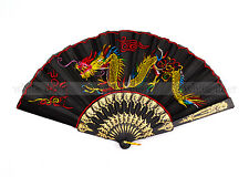 Asian Dragon Design Pattern Embroidered Cloth Folding Foldable Hand Fan Black