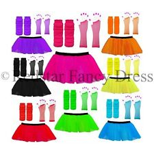 NEON TUTU SKIRTS 3 LAYERS UV LEG WARMERS GLOVES 1980'S FANCY DRESS HEN PARTY