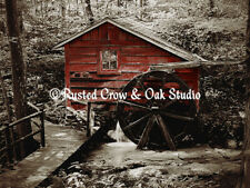 Old Red Mill in the Woods Matted Picture Art Print Home Decor A470