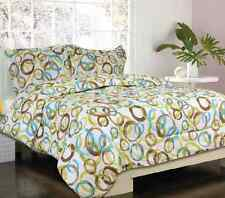 Bed in a Bag Bed Comforter Bedding Set Brampton Green Brown Blue Circles