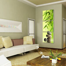 ZEN BAMBOO&STONE ready to hang 3 panel wall art print/surpassed stretched canvas