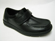Boys Clarks Velcro School Shoes In Black Leather 'Schoolrock Jnr'  F,G,H Fitting