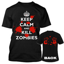 Keep Calm and Kill Zombies Bloody Handprint Mens Black T-Shirt NEW