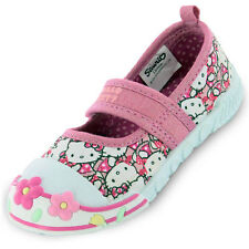 Girls SIZE 4 - 10 HELLO KITTY Pink Canvas Pumps Trainers NEW DIANTHUS Infants