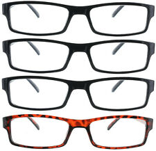 4 PACK READING GLASSES CLEAR LENS MENS WOMEN 1.00-4.00
