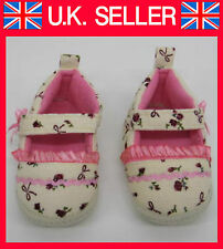 Baby Shoes Pram First Shoes Cream Floral Christenings Wedding New velvet girls