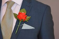 Artificial RED Silk Rose with Diamante, Wedding Groom Buttonhole Flower