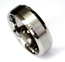 8Mm Tungsten Carbide Beveled Comfort Fit Wedding Band Mens Ring Brushed Center