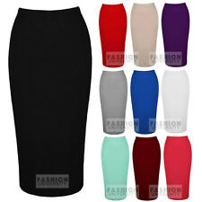 WOMENS ELASTIC WAIST BAND DOUBLE JERSEY LADIES LONG PLAIN PENCIL MIDI TUBE SKIRT
