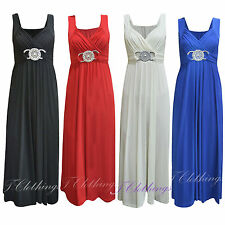 Womens Ladies Sleeveless Ring Front Flared Frankie Party Skater Maxi Dress