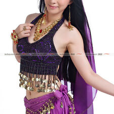 Belly Dance Costume Dancing Top Halter With Coins