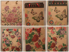 PACK OF 12 NATURAL BROWN GIFT BAGS FLORAL BUTTERFLY DESIGN WHOLESALE BULK BUY