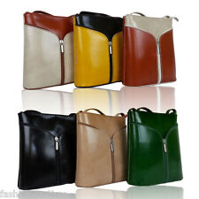 Brand New Genuine Italian Leather Vera Pelle Shoulder Cross Body Zip Handbag