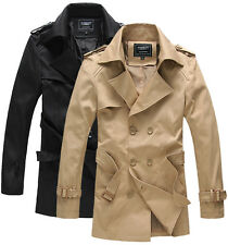 J035 New Mens Casual Double Breasted Trench Slim Fit Coats Jackets KHAKI & BLACK