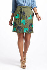 Anthropologie Embroidered Succory Twill A-Line Skirt  Size 0, 8 $128 NEW NWT