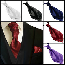 Ascot neck tie and hanky SET Wedding Groom Formal Prom Derby Cup cravat neckties
