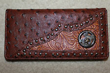Man's Faux Ostrich Leather WESTERN CHECKBOOK RODEO BUDDED WALLET SILVER LONESTAR