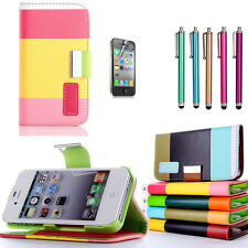 New Hybrid PU Leather Wallet Flip Pouch Stand Case Cover For iPhone 4G 4S + Pen
