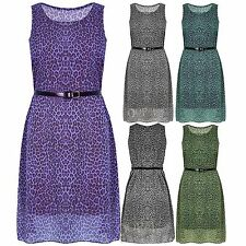 Womens Belted Ladies Leopard Print Chiffon Sleeveless Flared Skater Dress Top