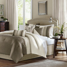 BEAUTIFUL 7PC MODERN ELEGANT IVORY TAUPE TEXTURED COMFORTER SET ALL SIZES NEW!!