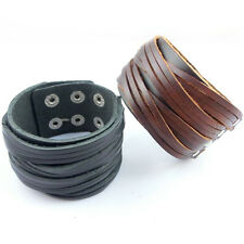 1pcs New Two-Layer Style Leather Bracelet Men Fashion Punk Cuff Bracelet SLS035