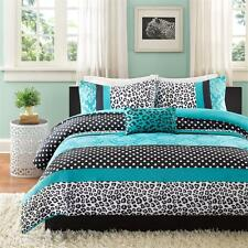 MODERN CHIC GIRLS BLACK TEAL BLUE PINK ZEBRA STRIPE DOTS COMFORTER SET & PILLOW