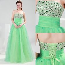 Girls Back To School Prom Ball Dress Green Strapless Long Formal Party Dresses
