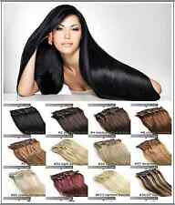 """16""""18""""20""""22""""24""""26""""28""""30"""" DIY Clip In Remy Real Human Hair Extensions Straight"""