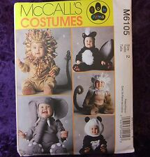 McCall's M6105 Infant-Toddler Animal Costume Sewing Patterns sizes 2 or 3 or 4