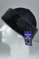 Black 100% Sheepskin Shearling Leather Fur Beanie Round Bucket Hat Winter S-3XL
