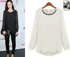 Black White Long Bishop Sleeve Crewneck Casual Pullover Blouse Chiffon Top S-XXL