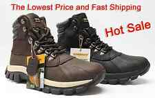 Kingshow Men's Winter Snow Boots Shoes Brown & Black Genuine Leather Waterproof