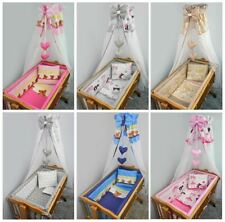 7 Pce Crib Baby Bedding Set 90 x 40 Canopy Fits Rocking/Swinging Cradle - Print