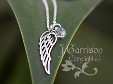 Angel Wing Necklace- Sterling silver charm & birthstone color crystal teardrop