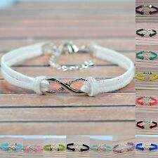 Handmade Charm DIY infinity beads & Leather Cord adjustable Bracelet gift