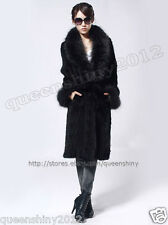 100% Real Knitted Mink Fur Long Coat Jacket Raccoon Fur Collar Outwear Wearcoat