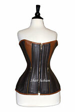 Body Shaper new Gothic Victoria Brown Leather Zip Corset
