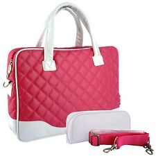 14 inch Diamond Quilted Pattern Bubble Foam Padded Laptop Briefcase Shoulder Bag
