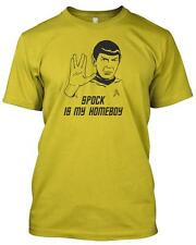 'SPOCK IS MY HOMEBOY' Tshirt Star Trek funny Retro Geek Slogan Gift T.V Movie