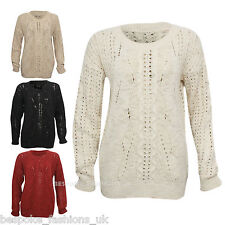 New Women's Chunky Aran Cable Knit Long Sleeve Crew Neck Ladies Jumper Top
