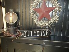 """Wood Sign Primitive Rustic Country Decor Shelf Sitter """"Handmade"""" OUTHOUSE Sign"""