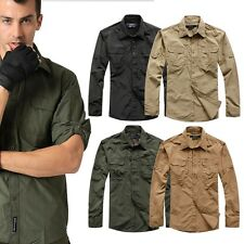 Mens Vented Quick Dry Camping Hiking Fishing River Shirt Anti Sun UV Long Sleeve