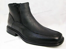 Men's Winter Boots Black Leather Ankle Fur Lined Both Side Zipper, Sizes:6.5-13