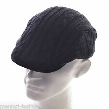 Mentari Hats Mens Cable Knitted Flat Cap In Black Navy and Grey Fashionable Look