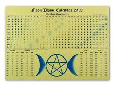 MOON PHASE LUNAR CALENDAR 2014 parchment poster wicca pagan spell astrology BOS